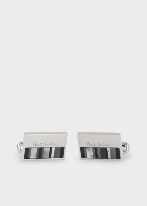 폴 스미스 커프링크스 Paul Smith Mens Black Stripe Mother-of-Pearl Stripe Cufflinks