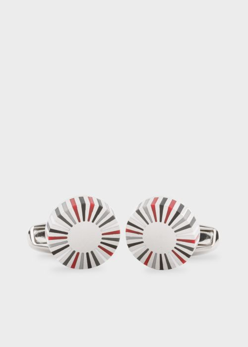 폴 스미스 커프링크스 Paul Smith & Manchester United - Mens Red And Grey Striped Edge Circular Cufflinks