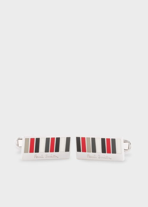폴 스미스 커프링크스 Paul Smith & Manchester United - Mens Red And Grey Stripe Rectangle Cufflinks