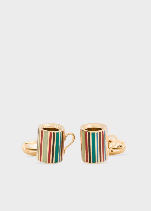 폴 스미스 커프링크스 Paul Smith Mens Signature Stripe Mug Cufflinks