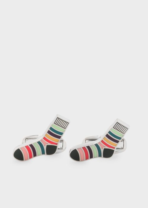 폴 스미스 커프링크스 Paul Smith Mens Striped Socks Cufflinks