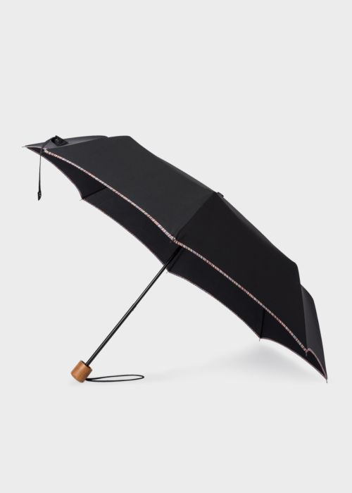 폴 스미스 우산 Paul Smith Black Telescopic Umbrella With Signature Stripe Trims