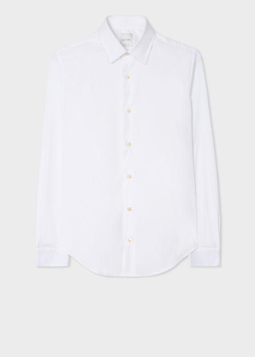 폴 스미스 셔츠 Paul Smith Mens Super Slim-Fit White Shirt With Artist Stripe Cuff Lining