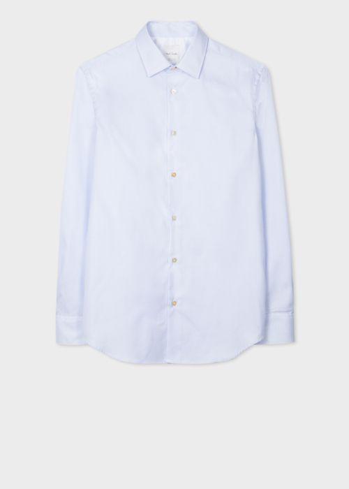 폴 스미스 셔츠 Paul Smith Mens Tailored-Fit Light Blue Mini-Check Shirt With Artist Stripe Cuff Lining