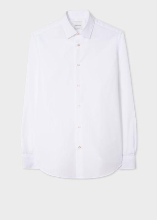 폴 스미스 셔츠 Paul Smith Mens Tailored-Fit White Cotton Signature Stripe Cuff Shirt