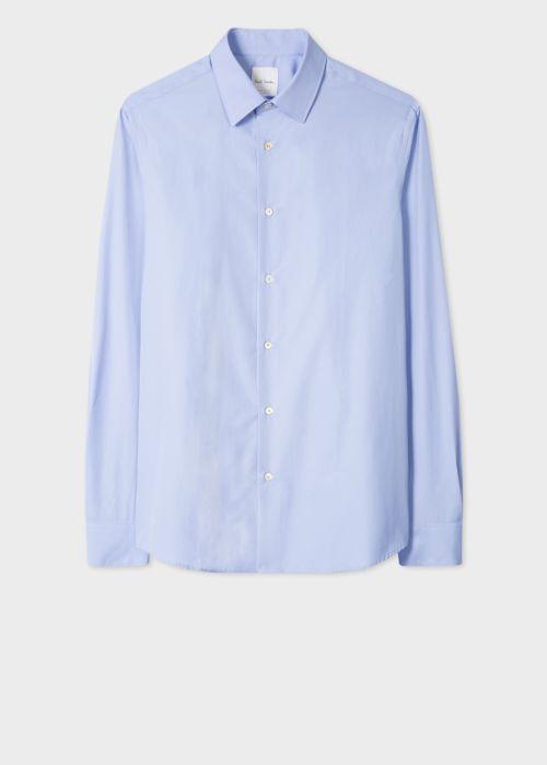 폴 스미스 셔츠 Paul Smith Mens Tailored-Fit Sky Blue Cotton Shirt With Signature Stripe Cuff Lining