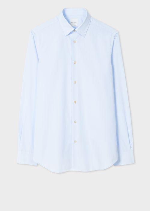 폴 스미스 셔츠 Paul Smith Mens Tailored-Fit Sky Blue Cotton Artist Stripe Cuff Shirt
