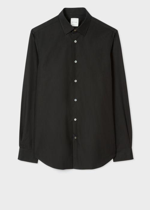 폴 스미스 셔츠 Paul Smith Mens Tailored-Fit Black Cotton Artist Stripe Cuff Shirt