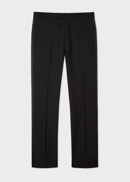 폴 스미스 바지 Paul Smith Mens Black Wool And Mohair-Blend Evening Trousers