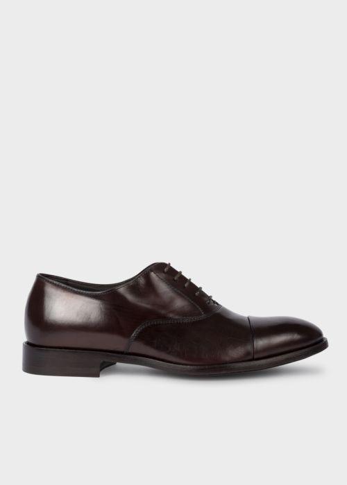 폴 스미스 Paul Smith Mens Chocolate Brown Leather Brent Oxford Shoes With Signature Stripe Details