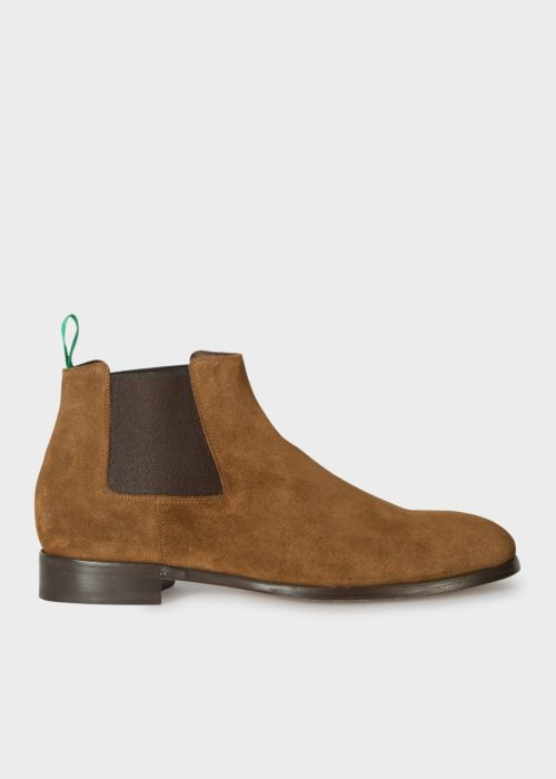 폴 스미스 Paul Smith Mens Tan Suede Crown Chelsea Boots