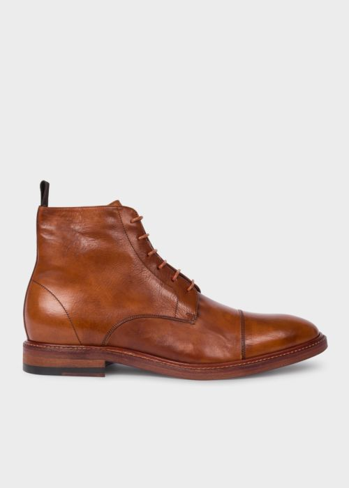 폴 스미스 Paul Smith Mens Tan Calf Leather Jarman Boots