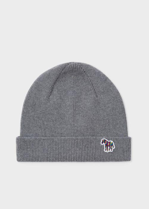 폴 스미스 Paul Smith Mens Grey Zebra Logo Ribbed Lambswool Beanie Hat