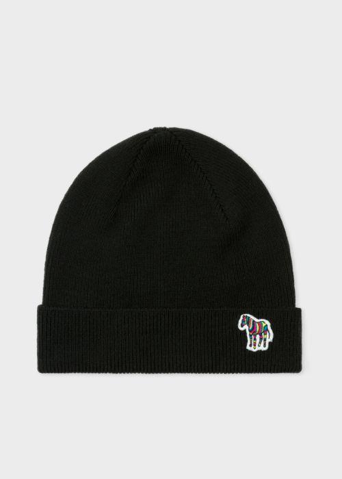 폴 스미스 Paul Smith Mens Black Zebra Logo Ribbed Lambswool Beanie Hat