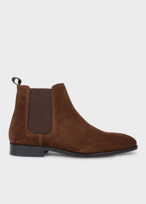 폴 스미스 Paul Smith Mens Dark Brown Suede Gerald Chelsea Boots