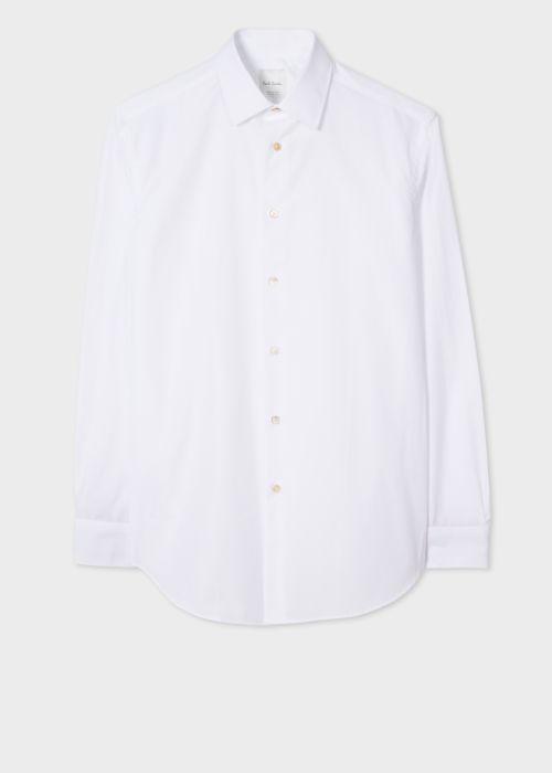 폴 스미스 셔츠 Paul Smith Mens Classic-Fit White Cotton Artist Stripe Cuff Shirt