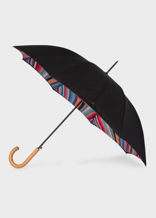폴 스미스 우산 Paul Smith Black Swirl Canopy Walker Umbrella With Wooden Handle