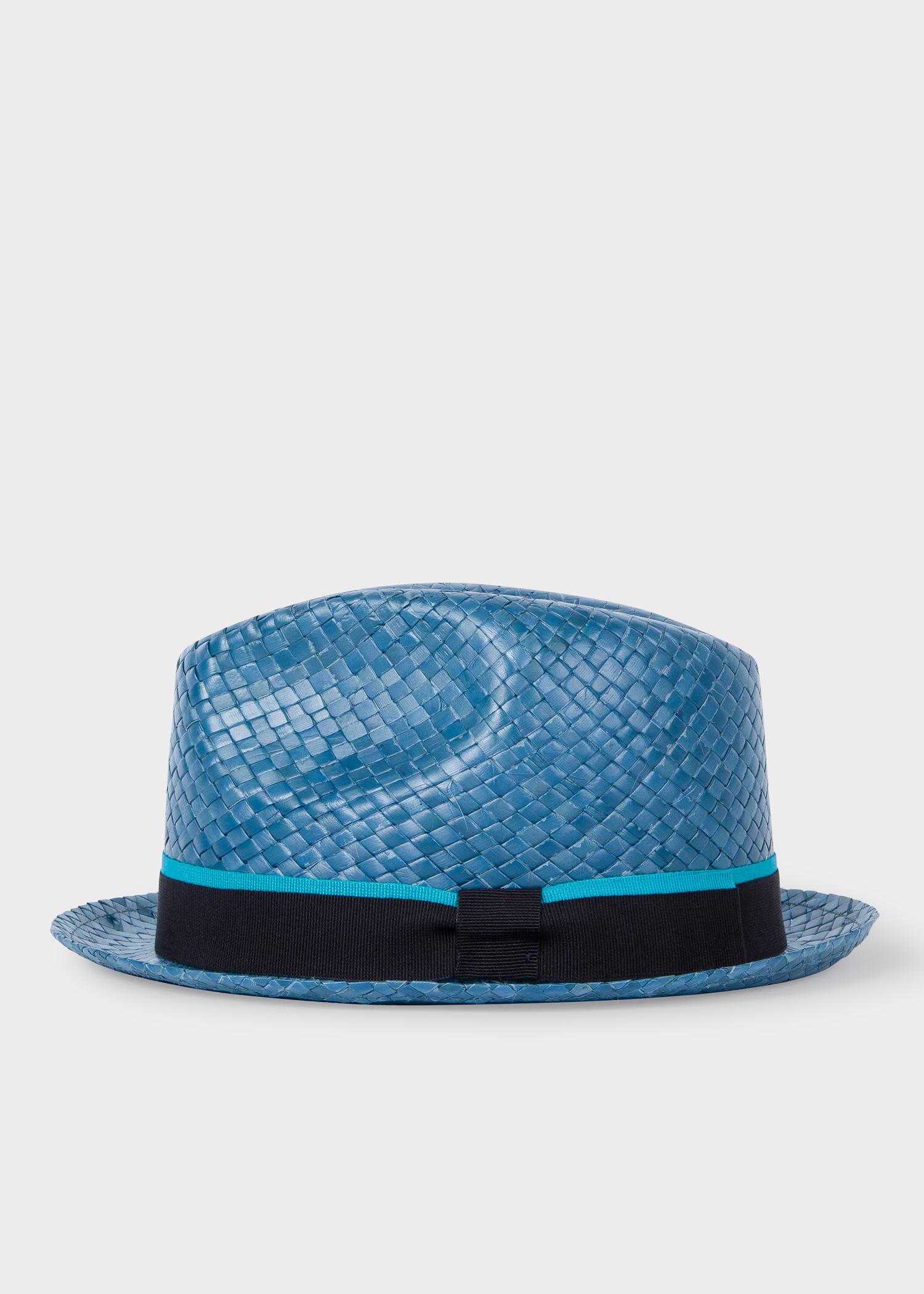 6de6e6b4 Side view - Men's Slate Blue Woven Trilby Hat Paul Smith