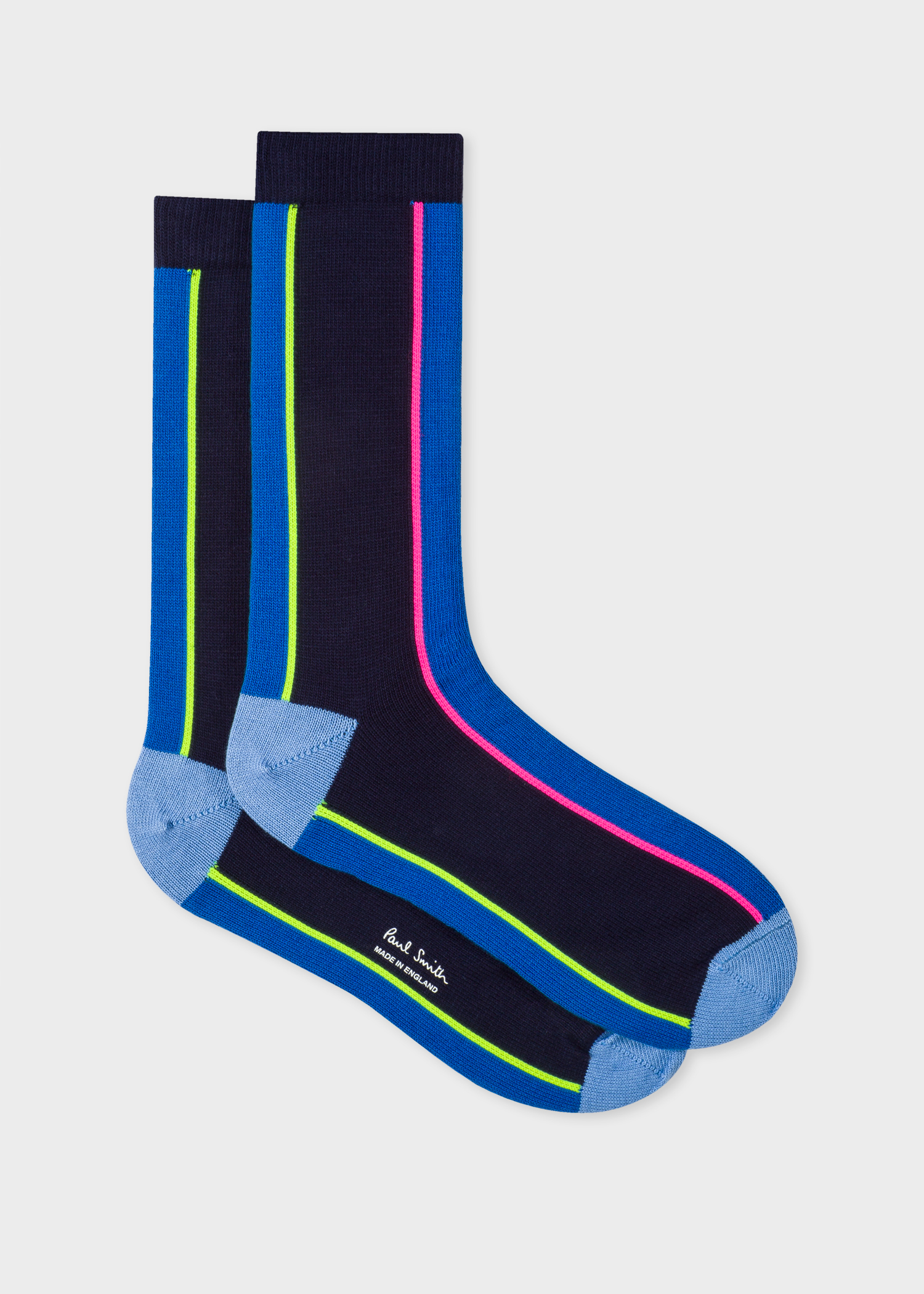d20c82946b6 Side View - Men s Navy And Indigo Vertical Stripe Socks Paul Smith