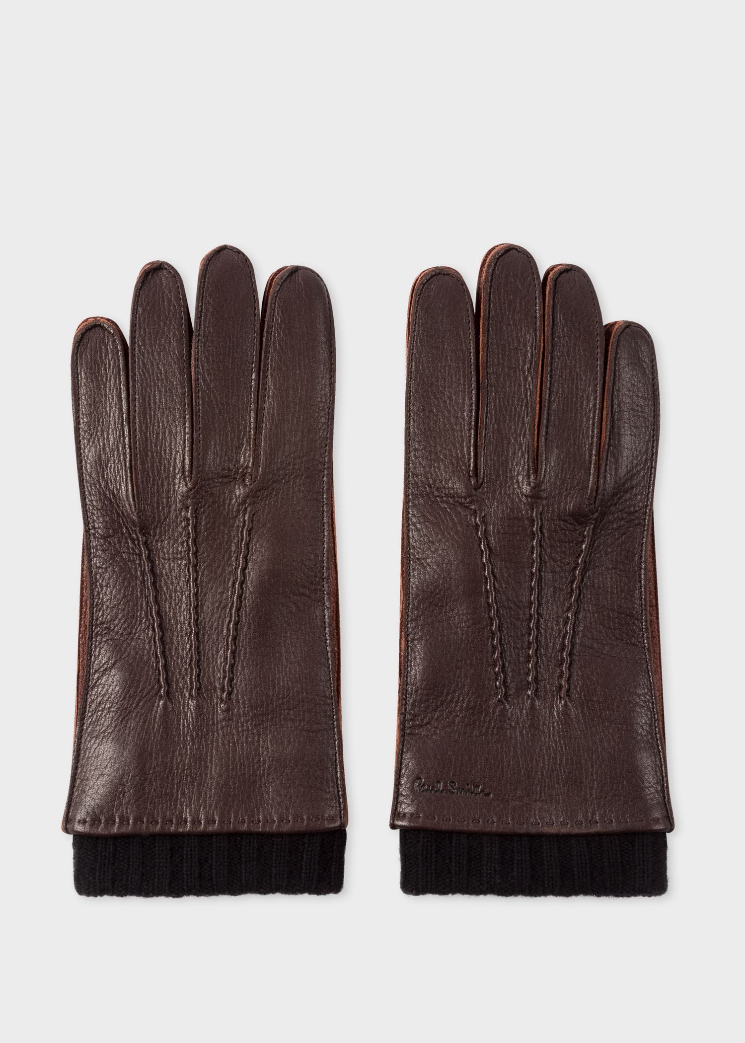 acba8c0761ed1 Men's Chocolate Brown Deerskin Silk-Cashmere Lined Gloves Paul Smith