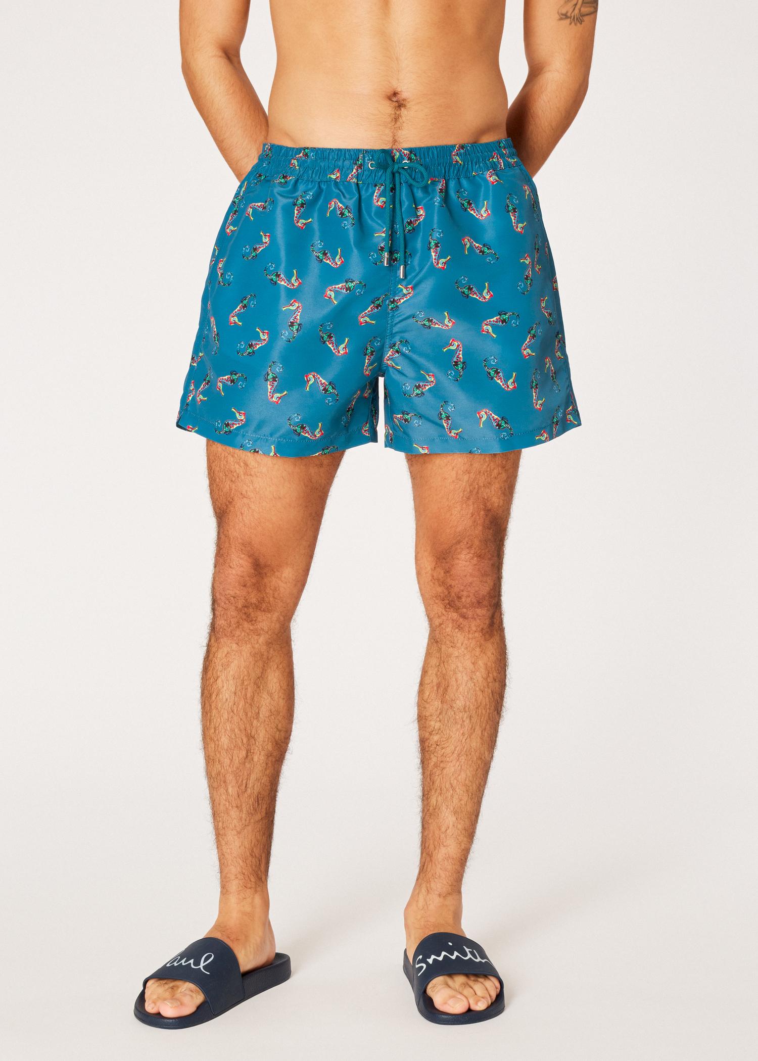 a1ac3c5c09 Model front View - Men's Petrol Blue 'Seahorse' Print Swim Shorts Paul Smith