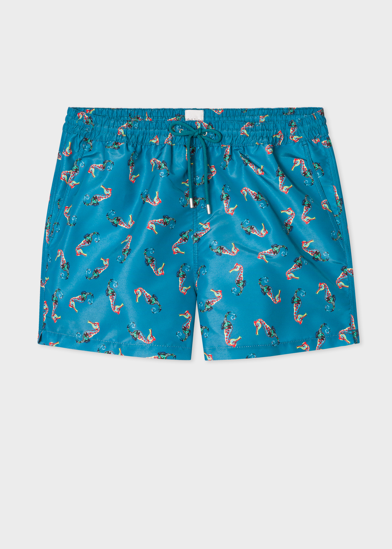 88198e1f78 Front View - Men's Petrol Blue 'Seahorse' Print Swim Shorts Paul Smith