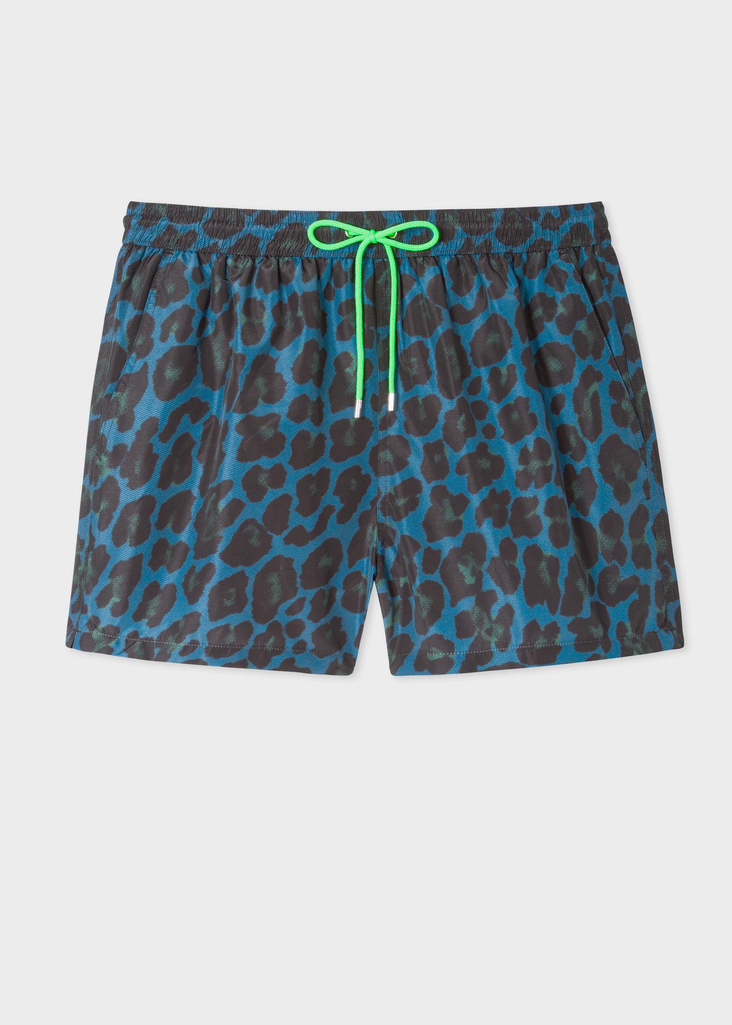 a00af2f1f Men's Petrol 'Leopard' Motif Swim Shorts
