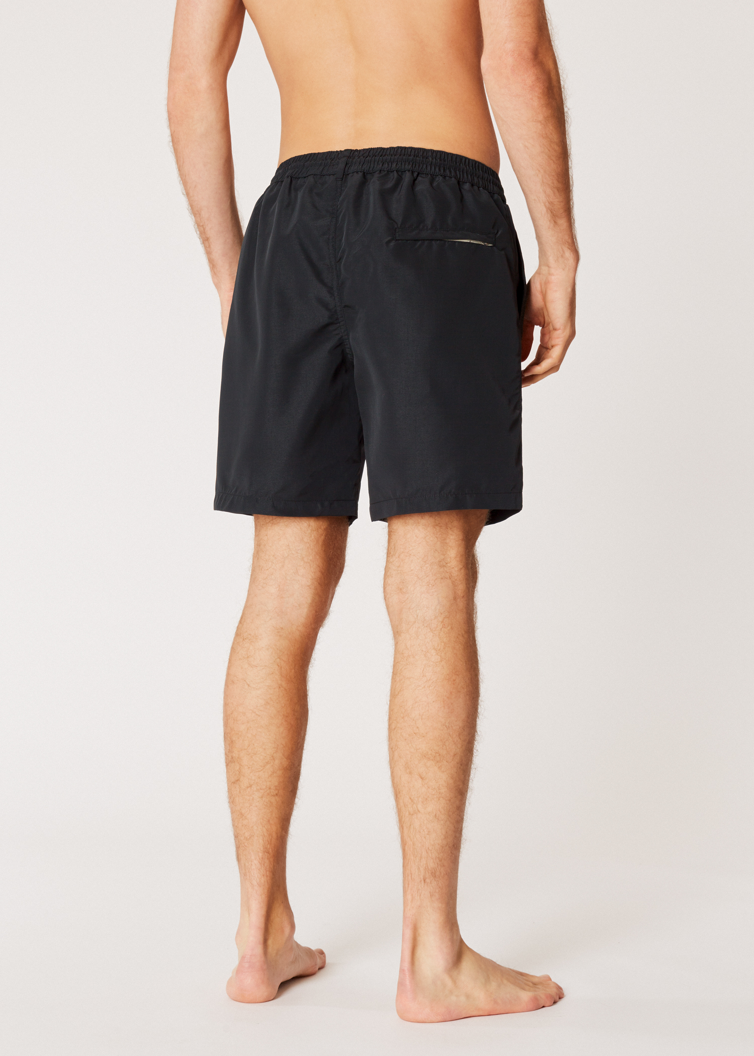 39081d512a Model back view- Men's Black Long Swim Shorts Paul Smith