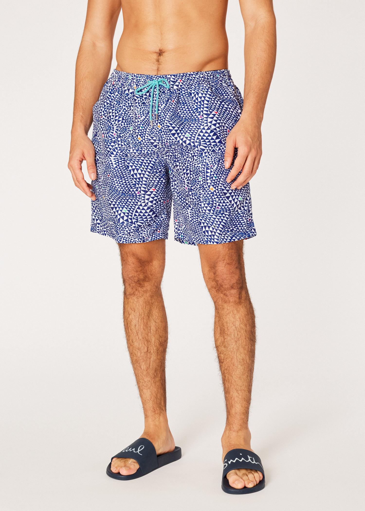 333fe9a61a04 Model front View - Men s Navy  Diamond Wave  Print Long Swim Shorts ...