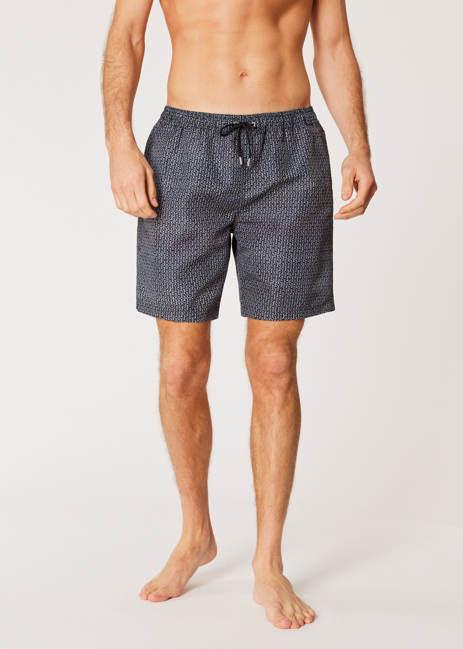 4b0a100c05 Model front View - Men's Black 'Geometric' Print Long Swim Shorts Paul Smith