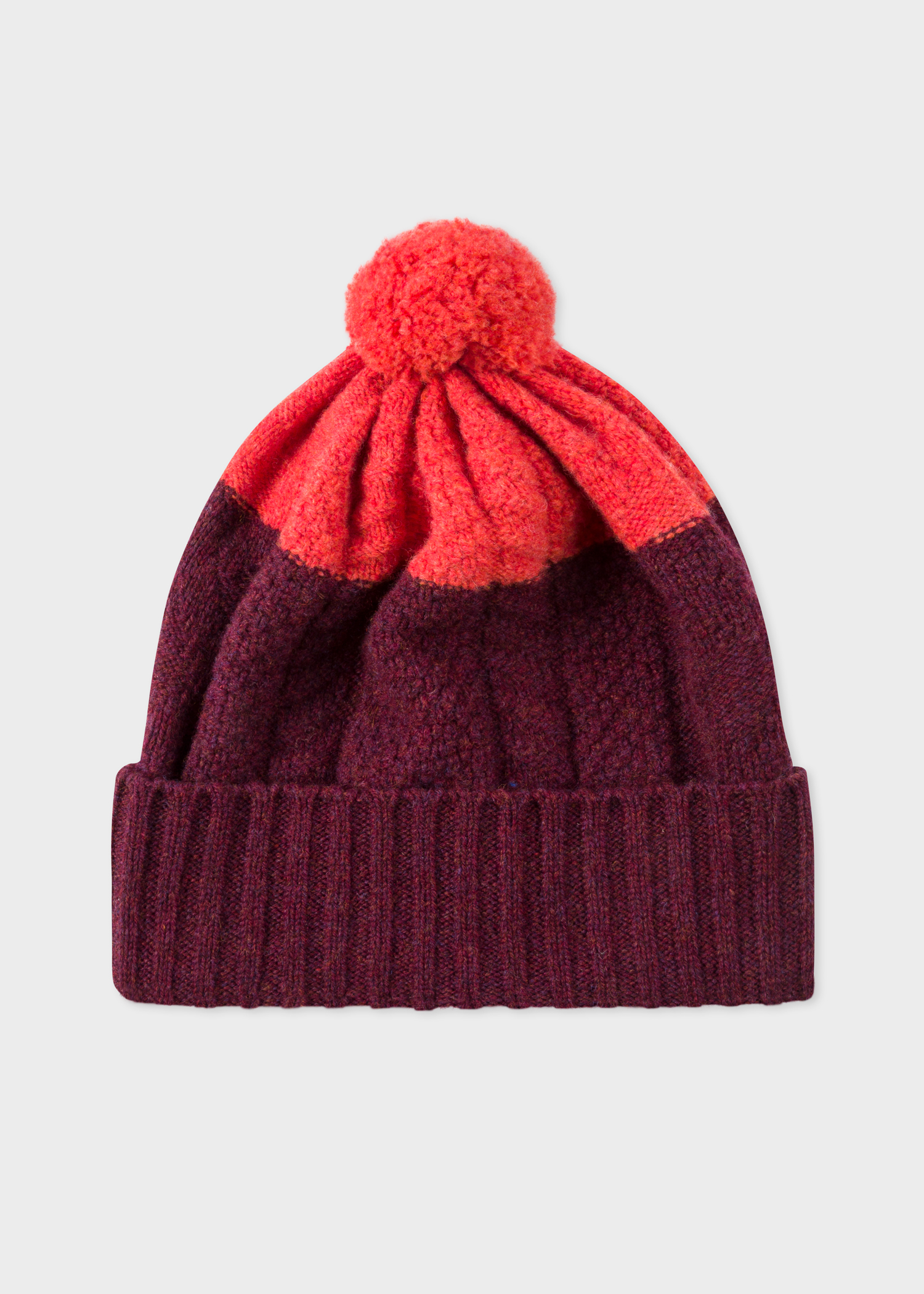 22dd90995ce Men s Burgundy Cable-Knit Wool Beanie Hat - Paul Smith Australia