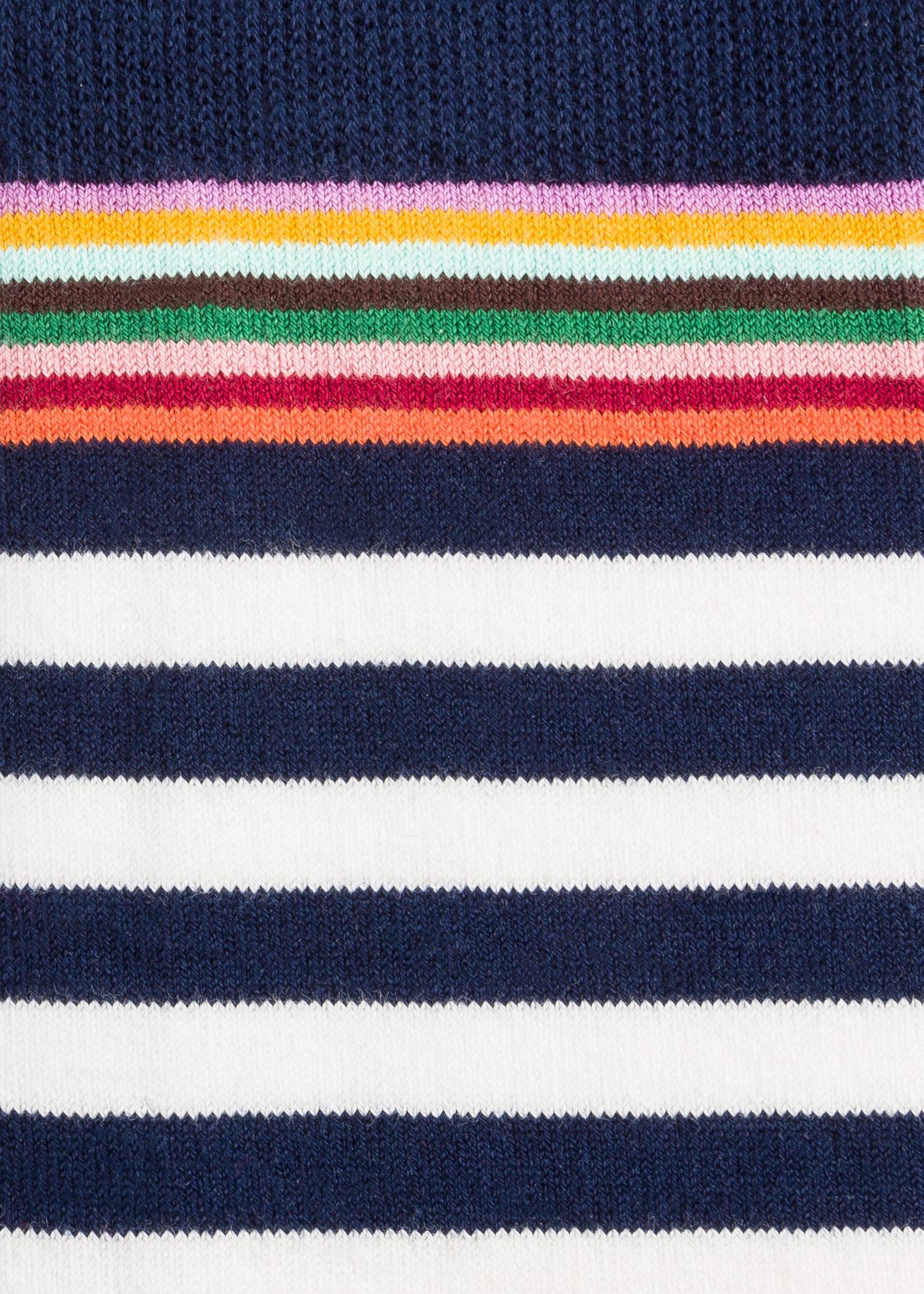 fb0fe4e236a Vue détaillée - Chaussettes Homme Crème Et Bleu Marine Rayures Colorées  Paul Smith