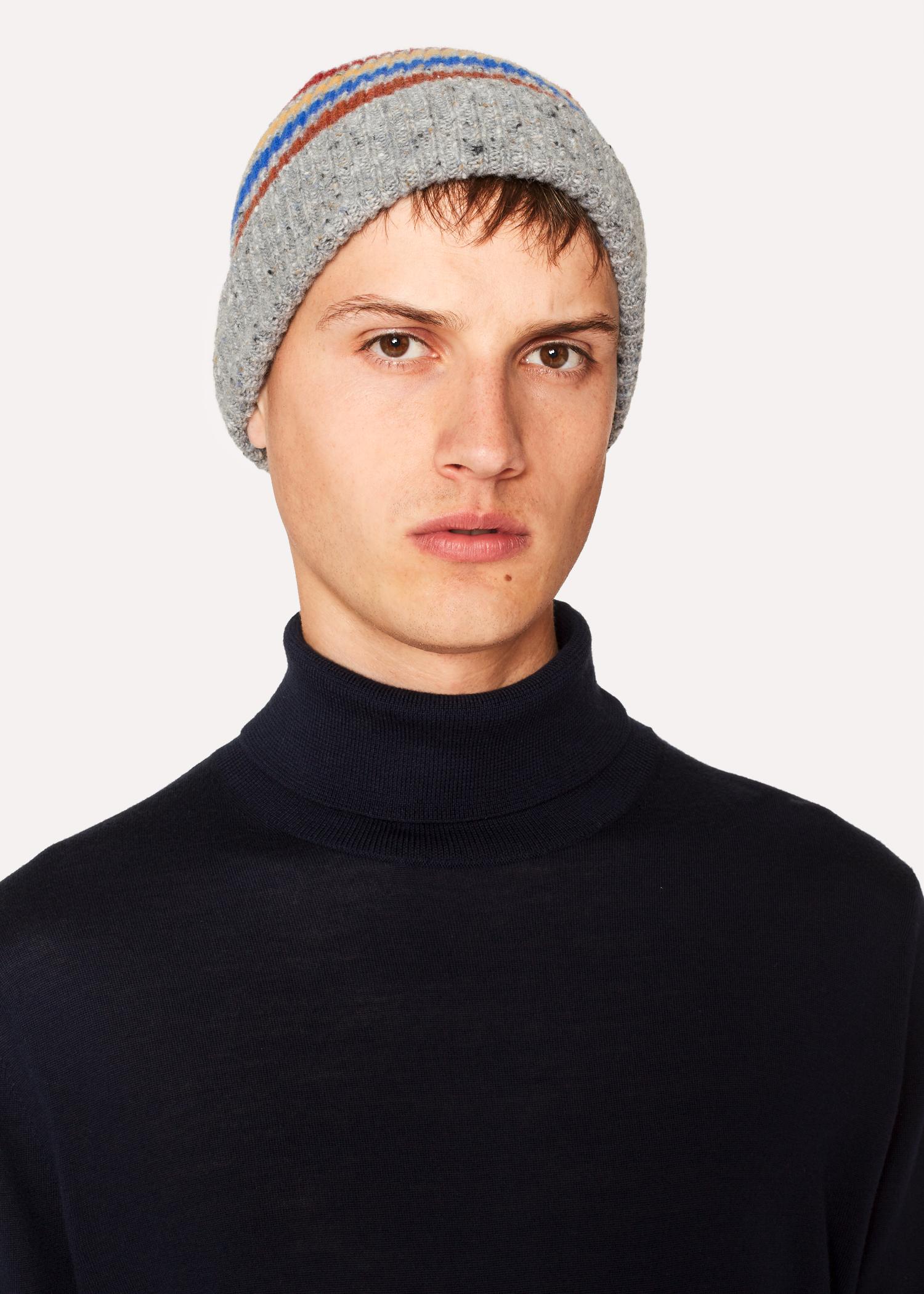 f61d4139f10 Men s Grey Donegal Stripe Wool Beanie Hat - Paul Smith Australia