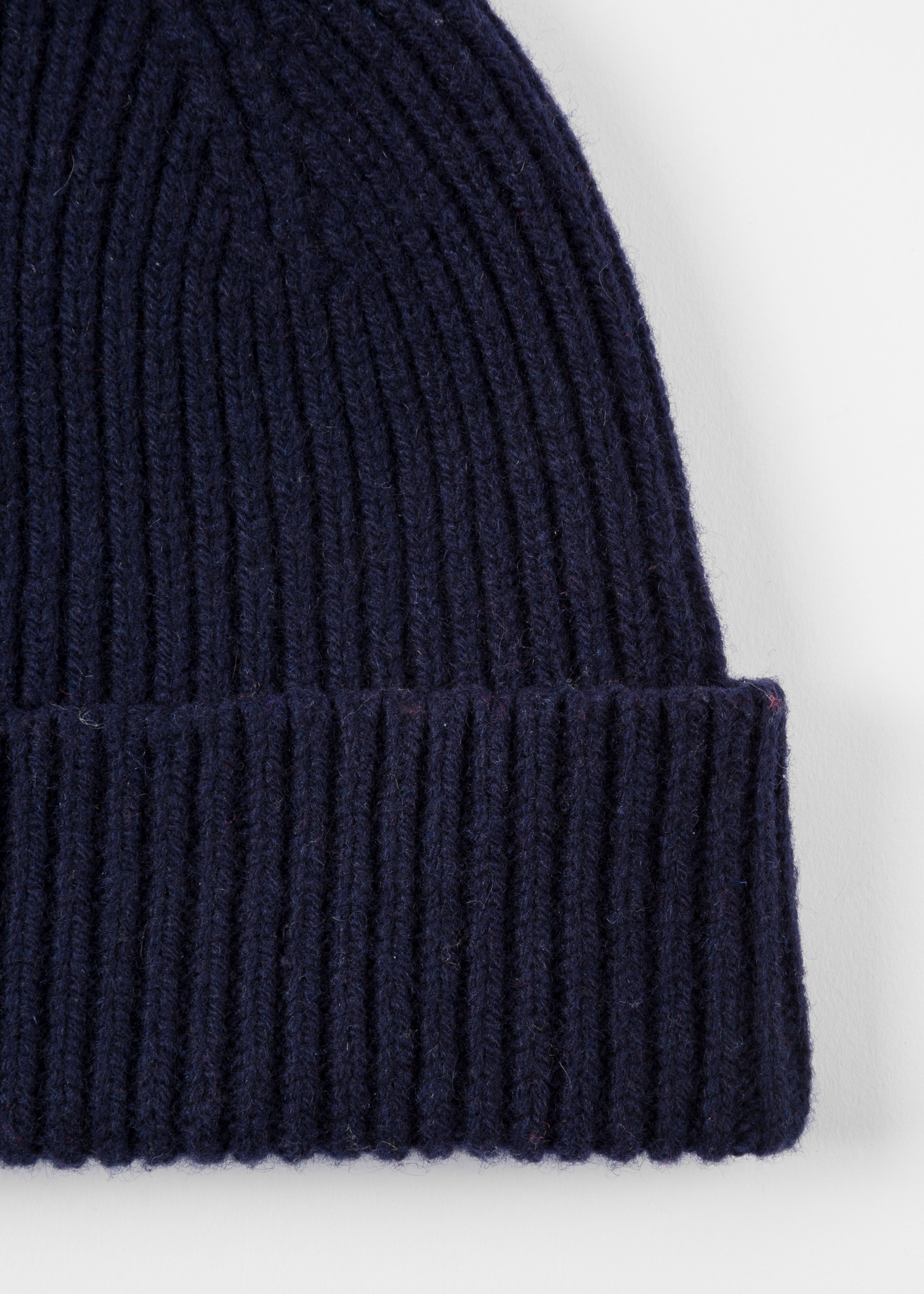 58ed0242a35 Men s Navy Cashmere-Blend Ribbed Beanie Hat - Paul Smith US