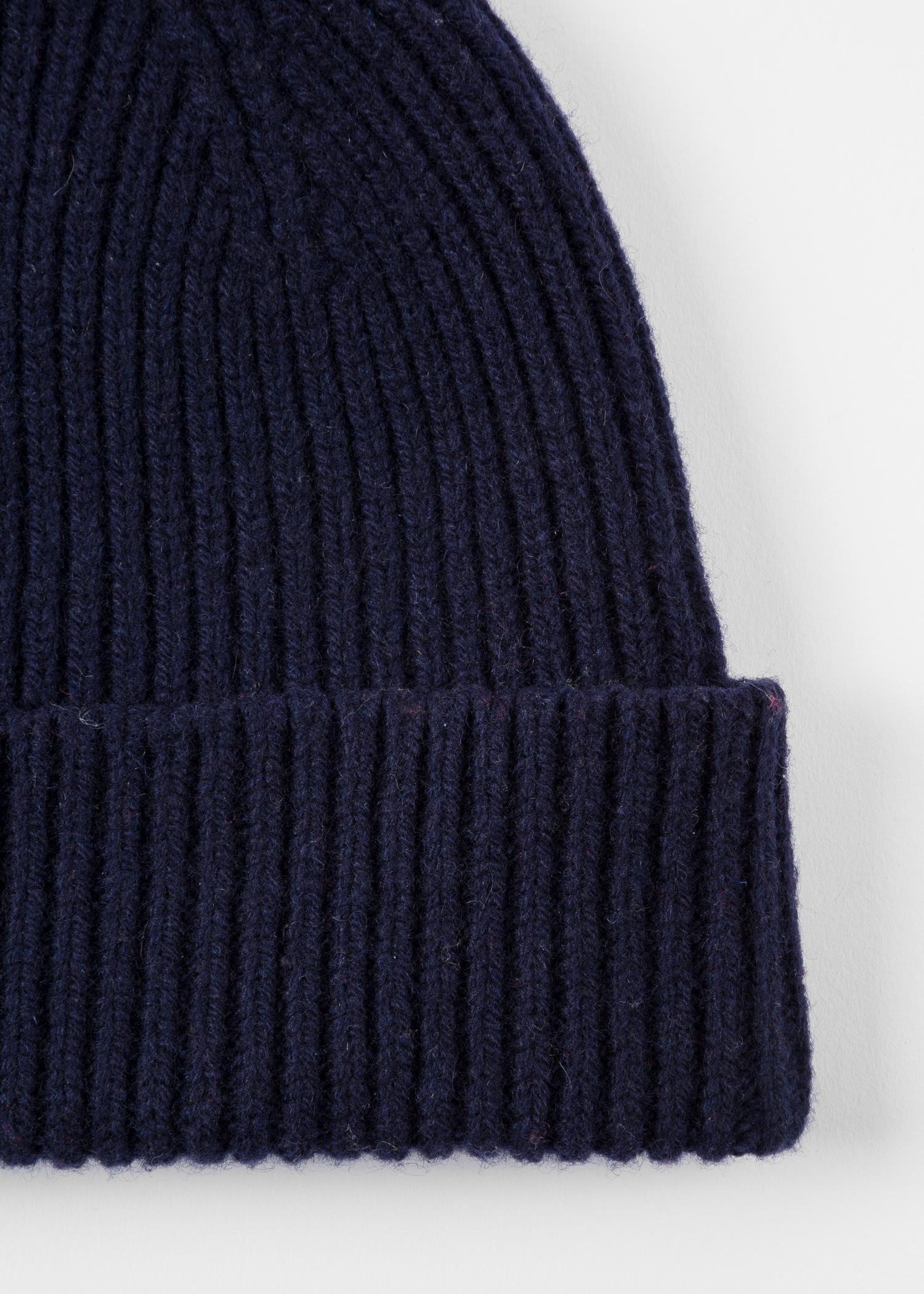 49d39131026 Men s Navy Cashmere-Blend Ribbed Beanie Hat - Paul Smith US