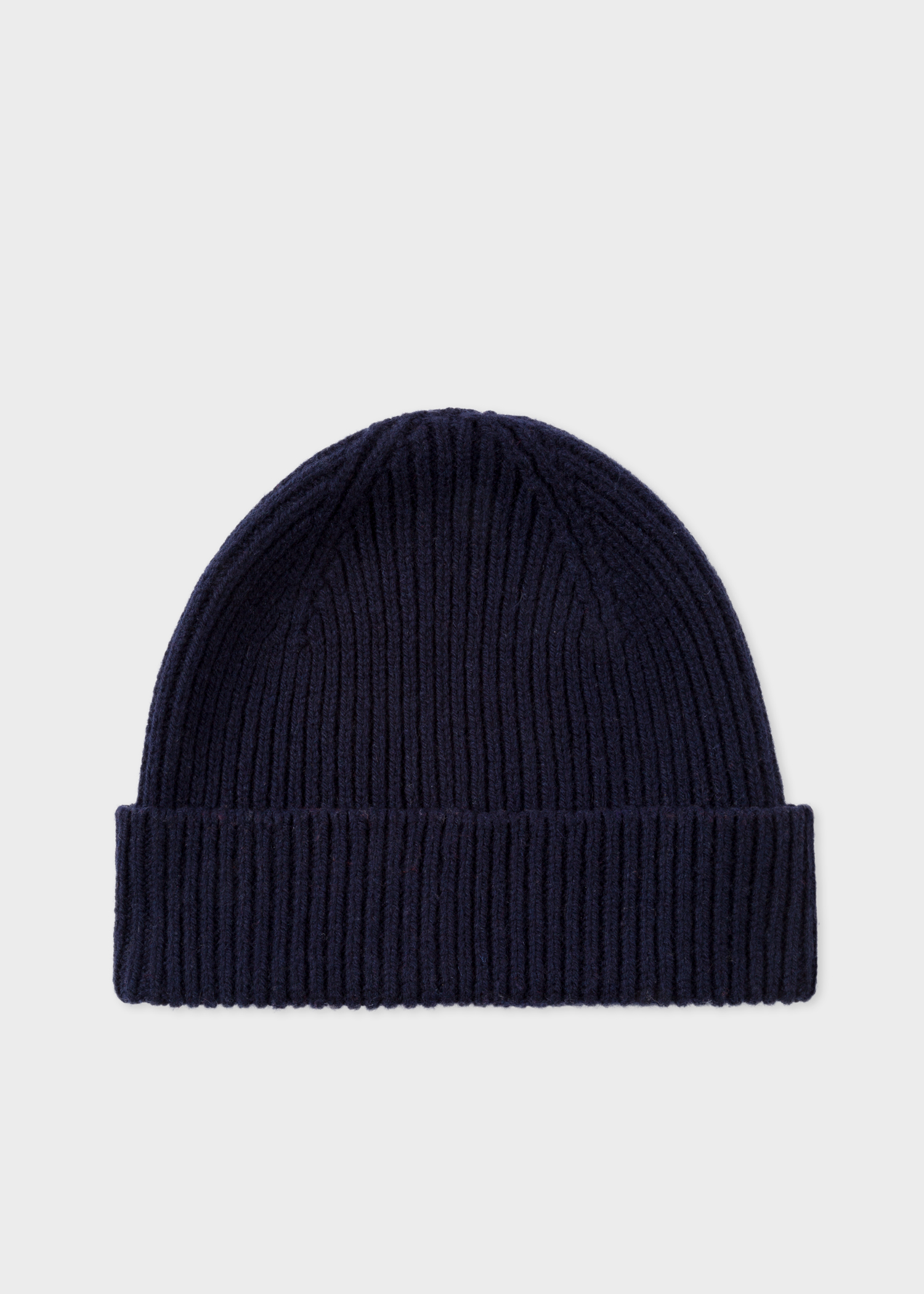 ce256030c08 Men s Navy Cashmere And Merino Wool Ribbed Beanie Hat - Paul Smith ...