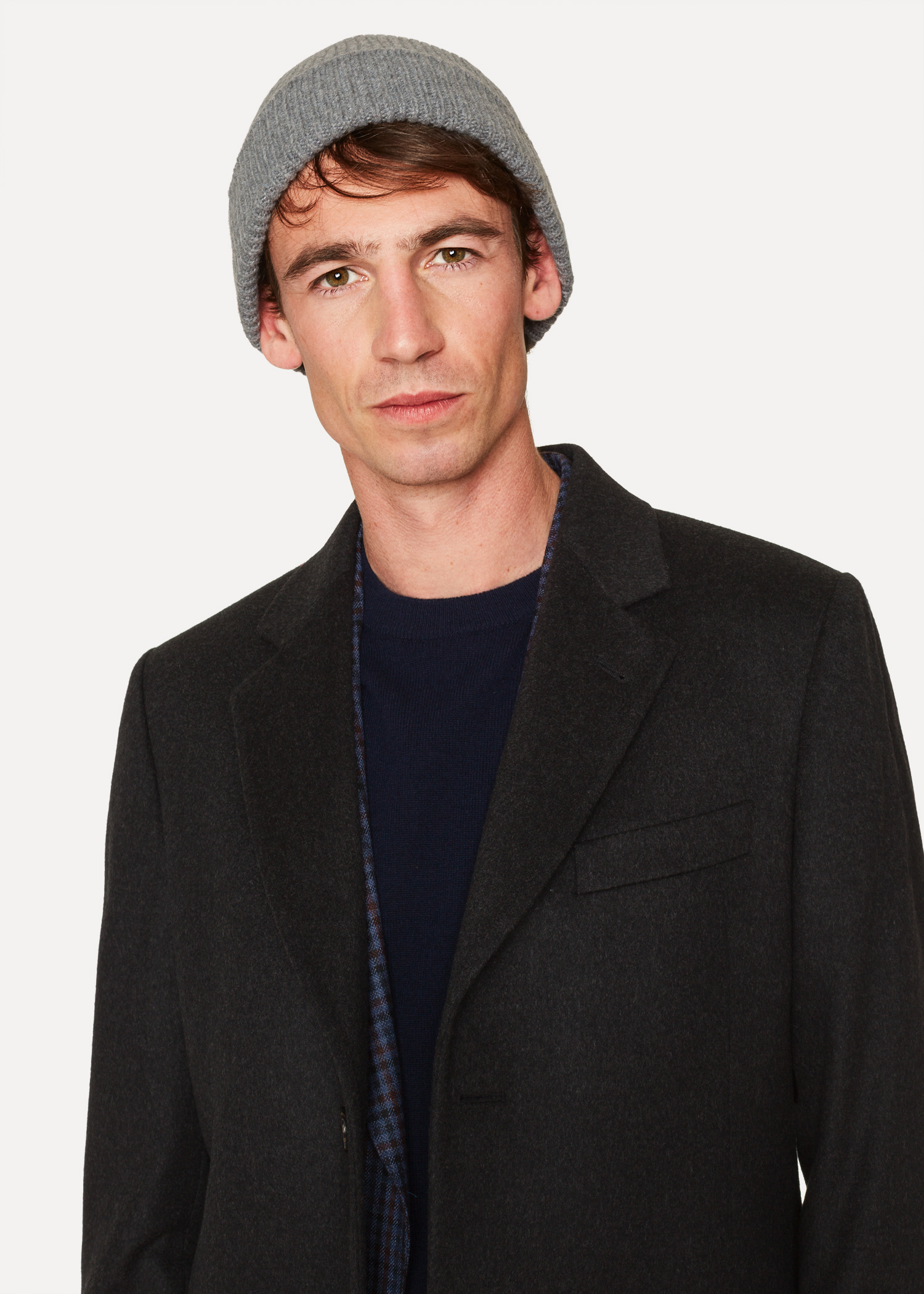 8863f96625a Men s Grey Cashmere-Blend Ribbed Beanie Hat - Paul Smith Asia