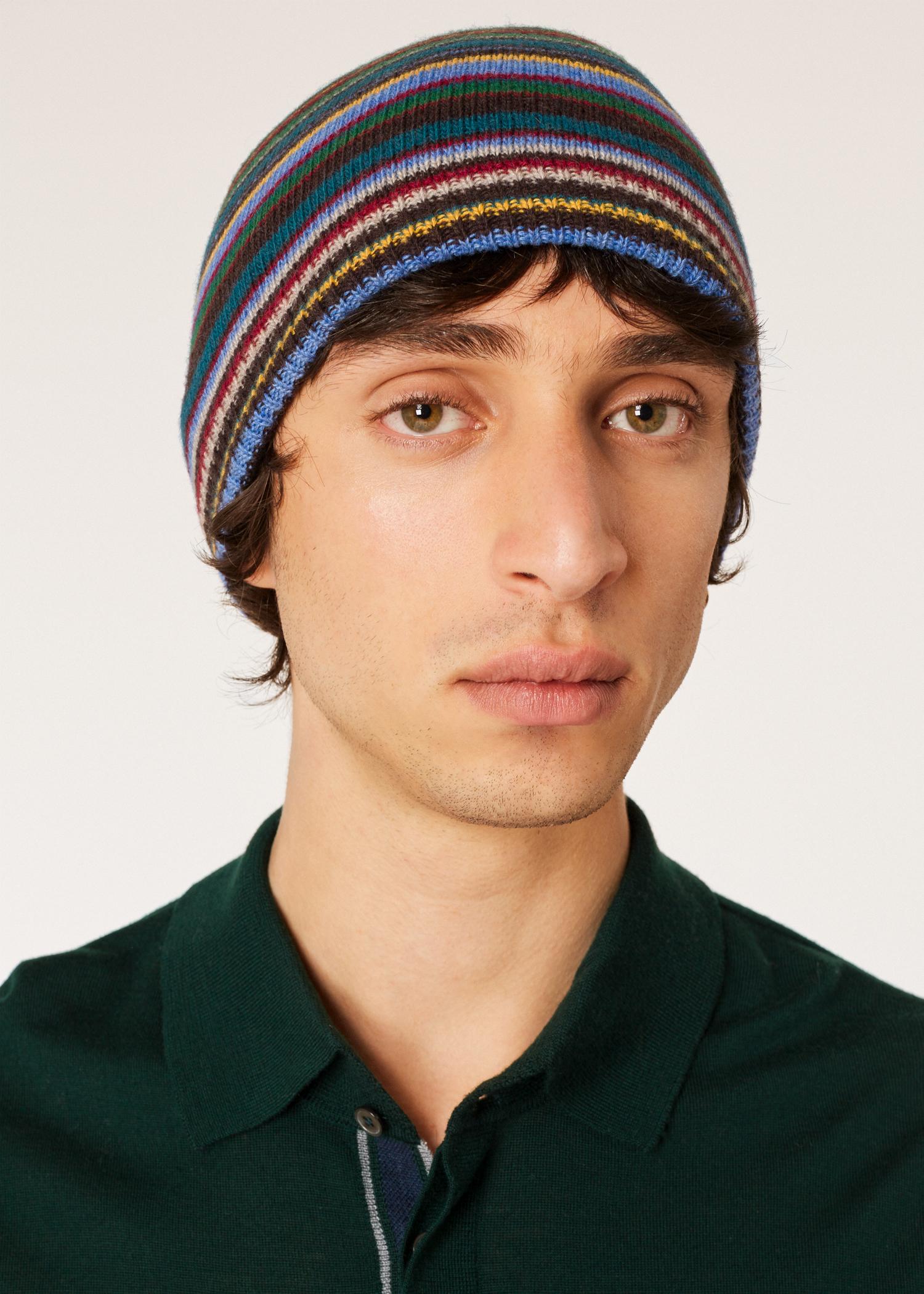 7ce65765233 Model view- Men s Signature Stripe Wool-Cashmere Beanie Hat Paul Smith