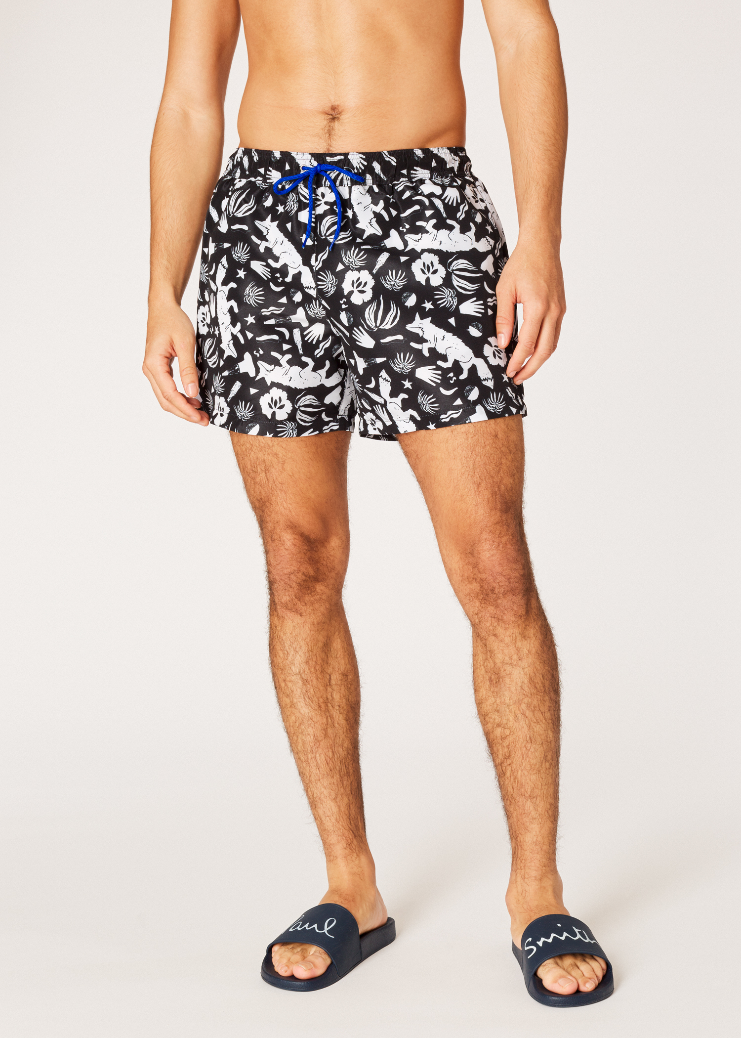 9728b7ebbf Model front View - Men's Black 'Urban Fox' Print Swim Shorts Paul Smith