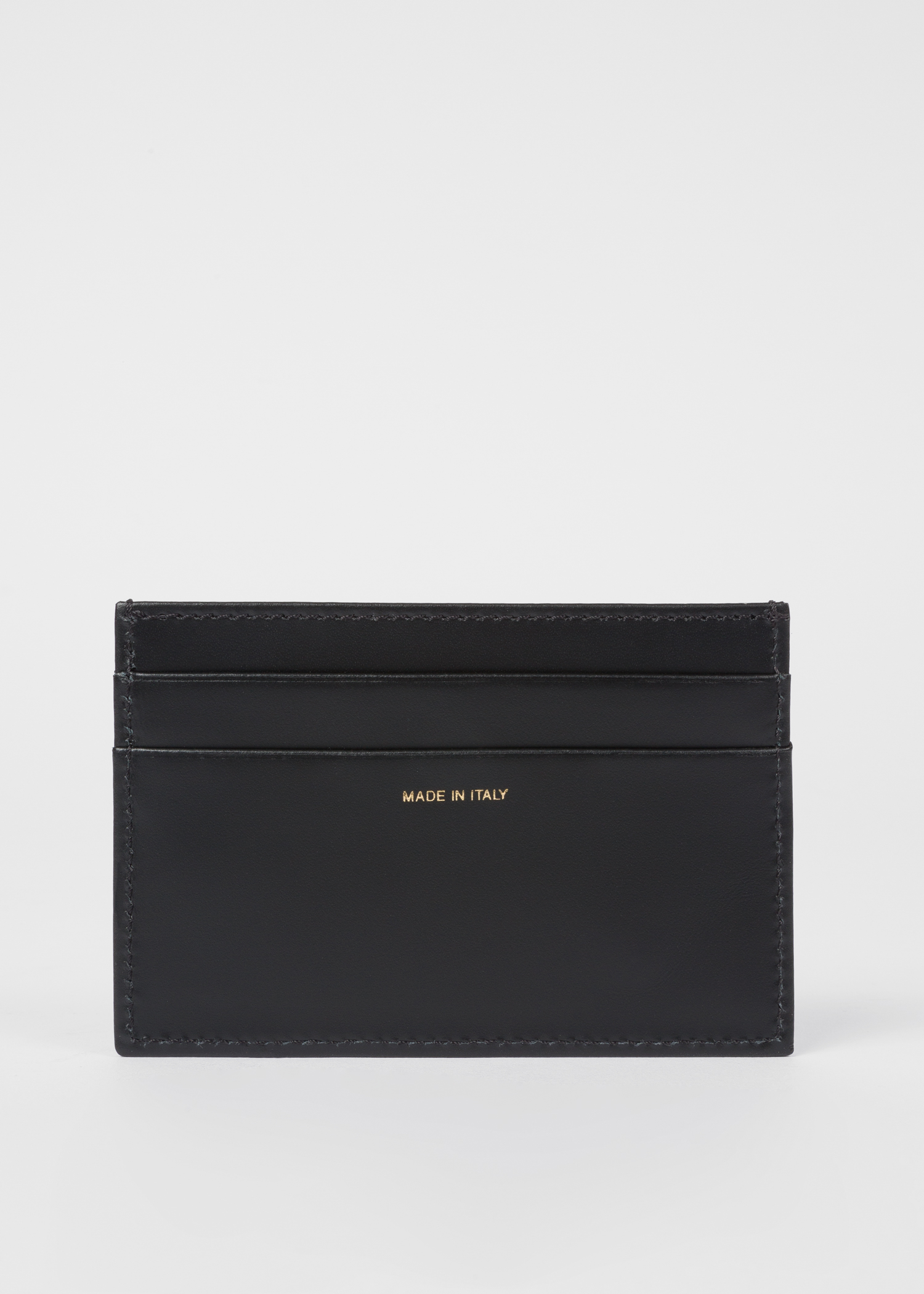 bc4745fb57f3 Men s Black Leather Credit Card Holder With Signature Stripe Trim by Paul  Smith