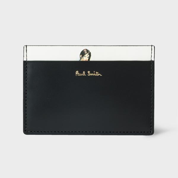 Men's Black Leather 'Naked Lady' Print Credit Card Holder