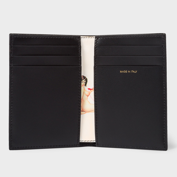 Men's Black Leather 'Naked Lady' Credit Card Wallet
