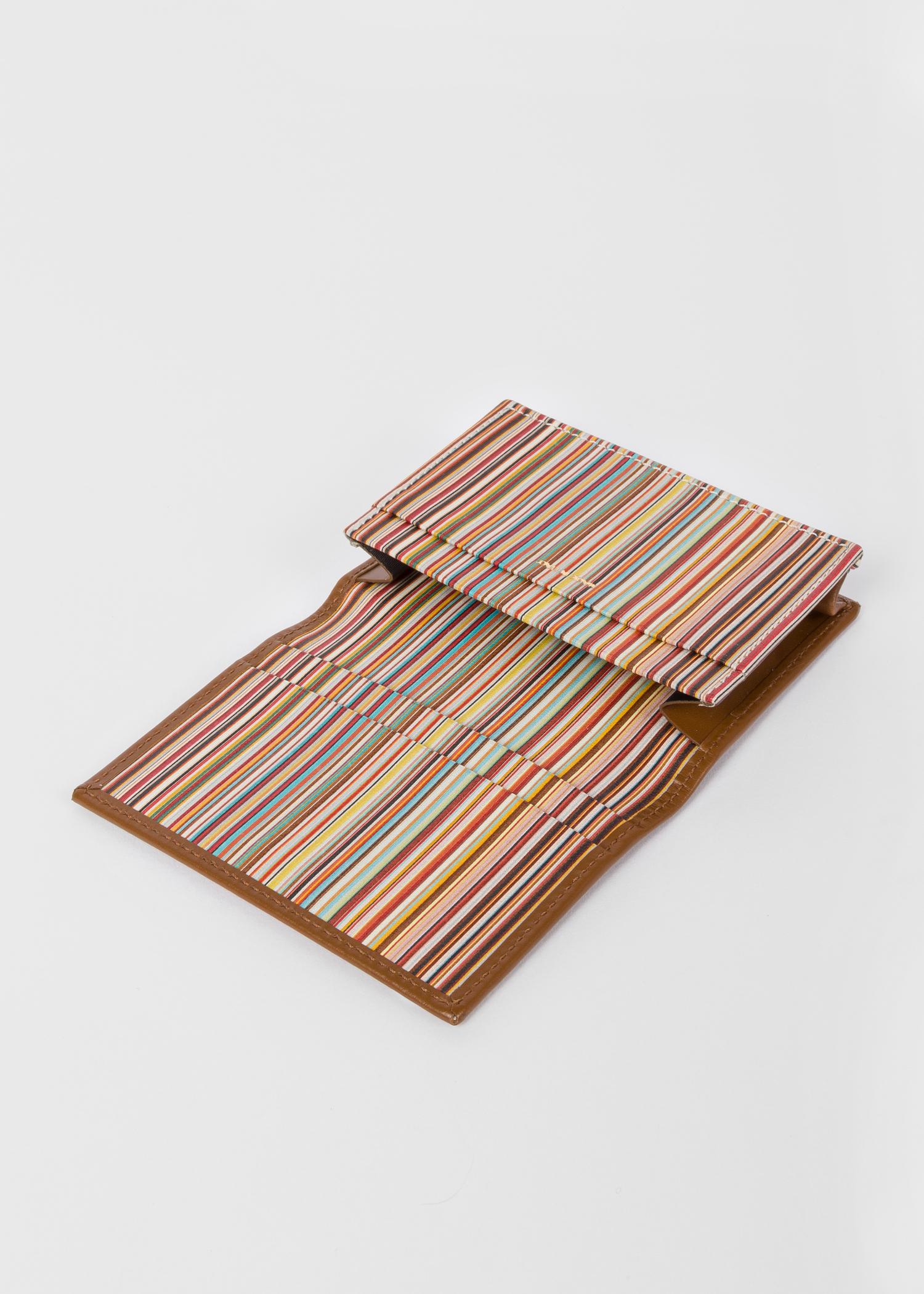 men\u0027s tan leather card wallet with \u0027signature stripe\u0027 interioropen detail men\u0027s tan leather card wallet with \u0027signature stripe\u0027 interior