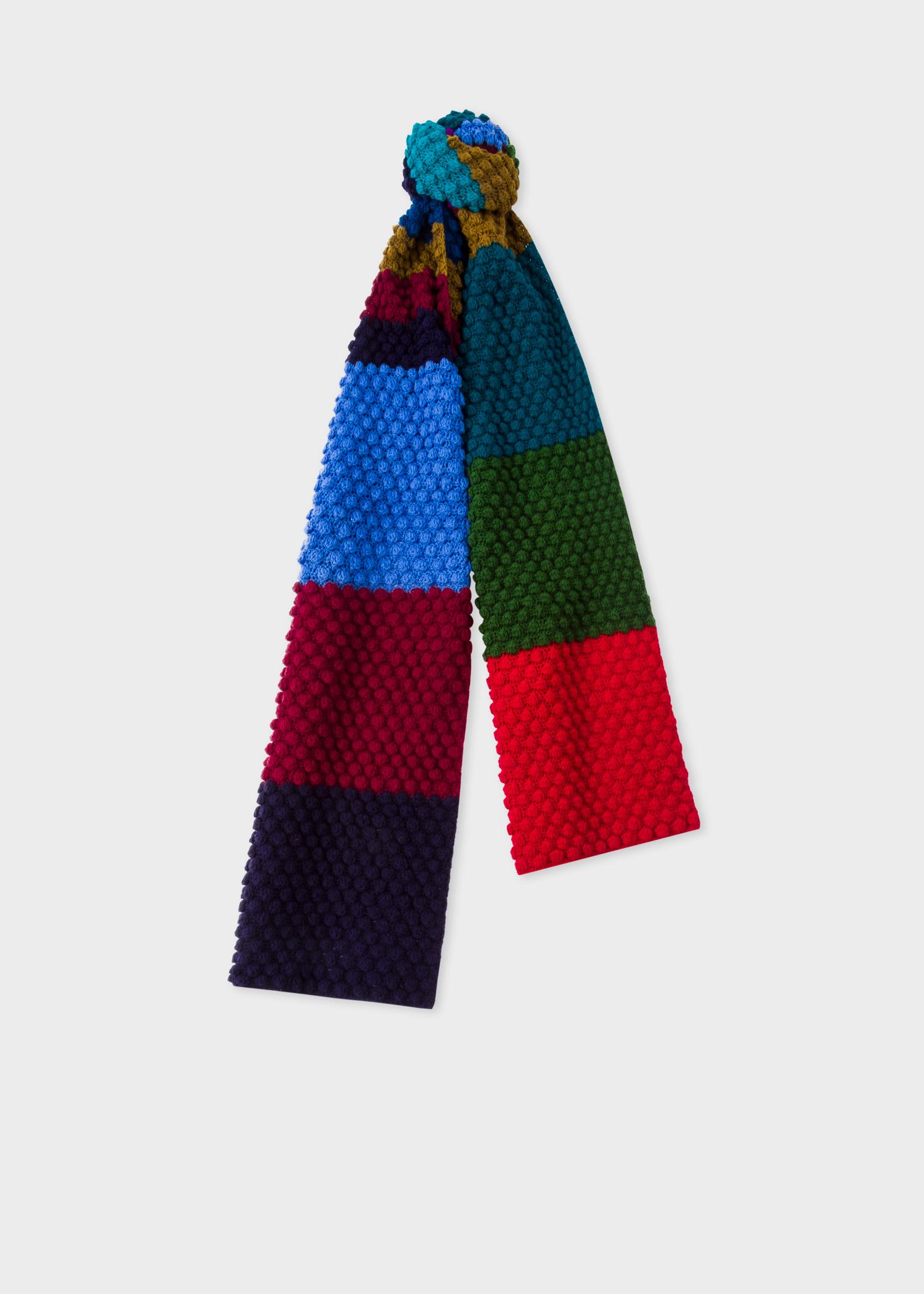 Mens Navy Stripe Wool Crochet Scarf Paul Smith Us