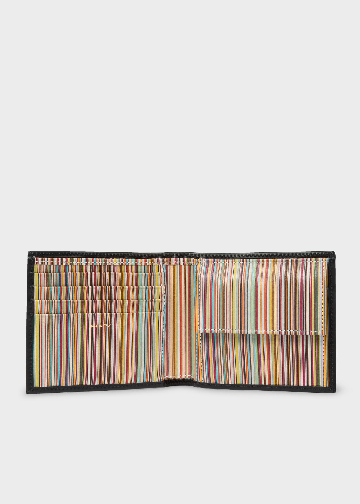 men\u0027s black leather signature stripe interior billfold and coinmen\u0027s black leather signature stripe interior billfold and coin wallet by paul smith
