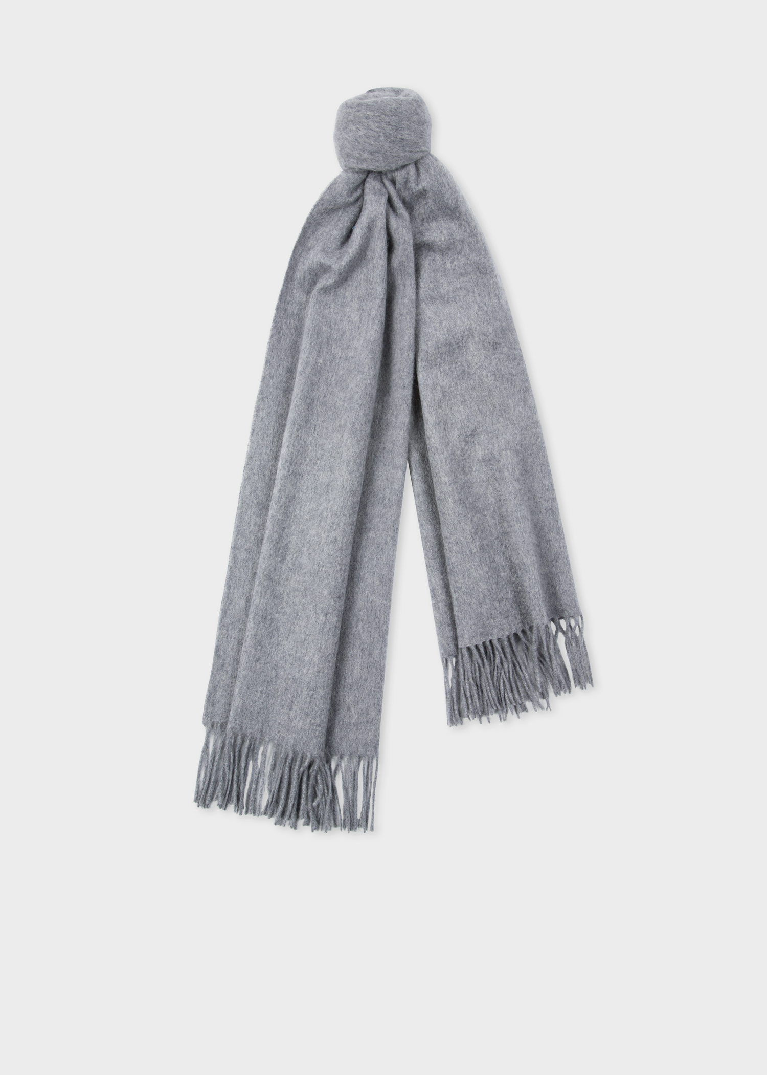 7d45da429e5 Knotted view - Men s Grey Large Cashmere Scarf Paul Smith