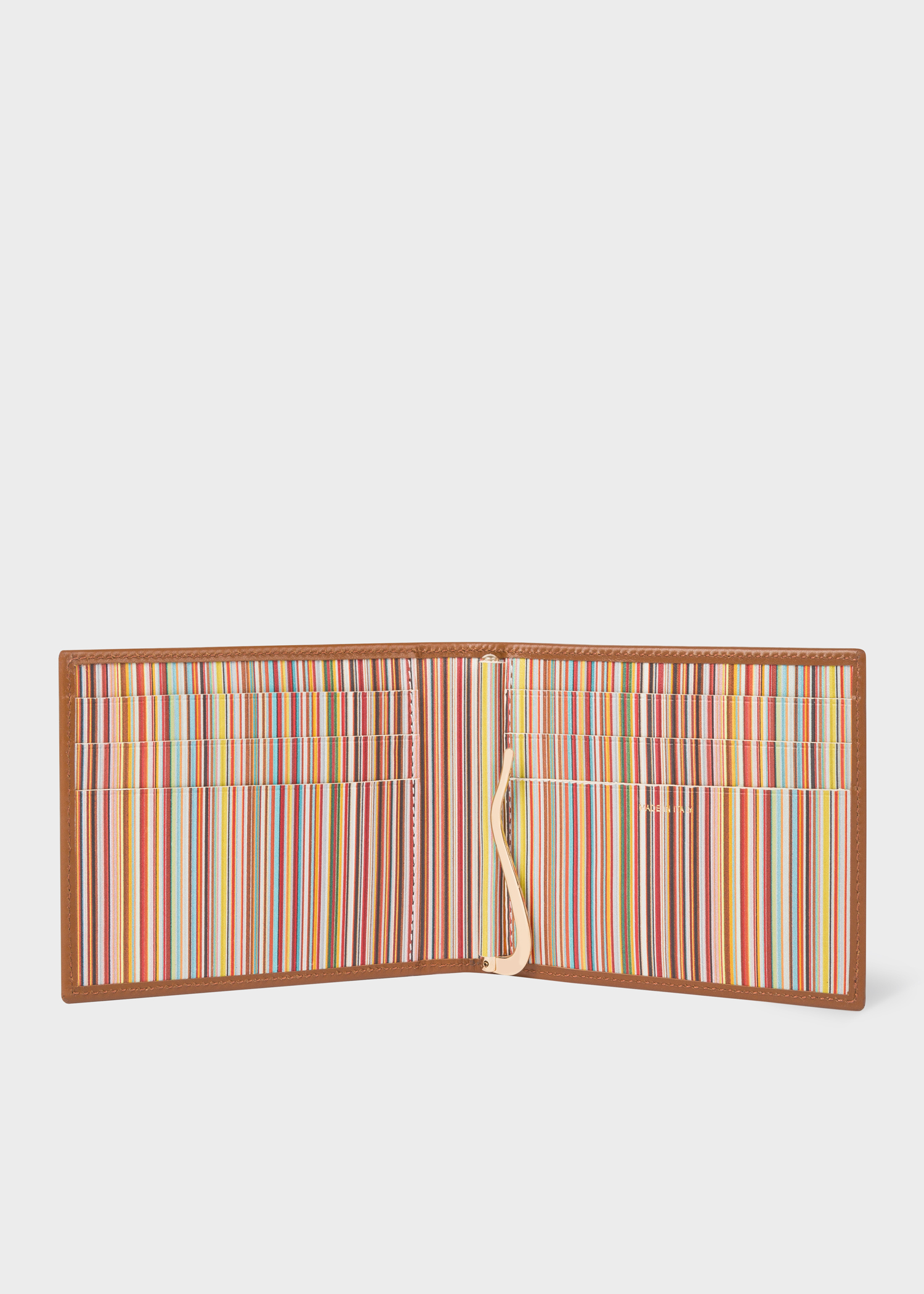 men s tan leather signature stripe interior money clip wallet paul rh paulsmith com