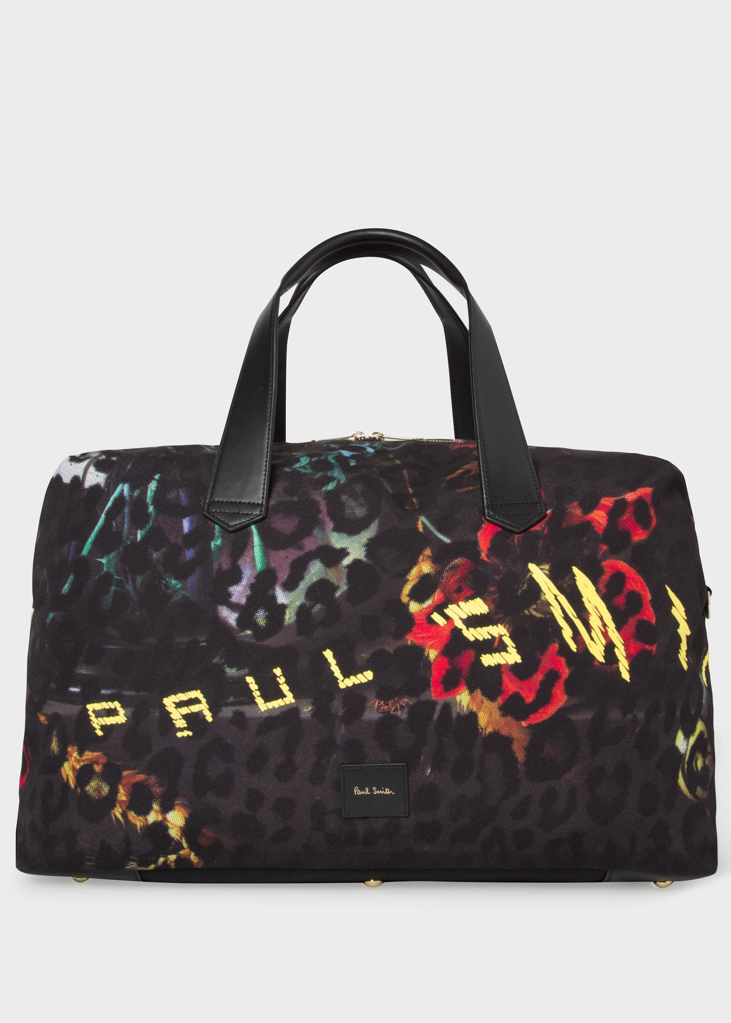 Men S Leopard Mix Print Canvas Weekend Bag
