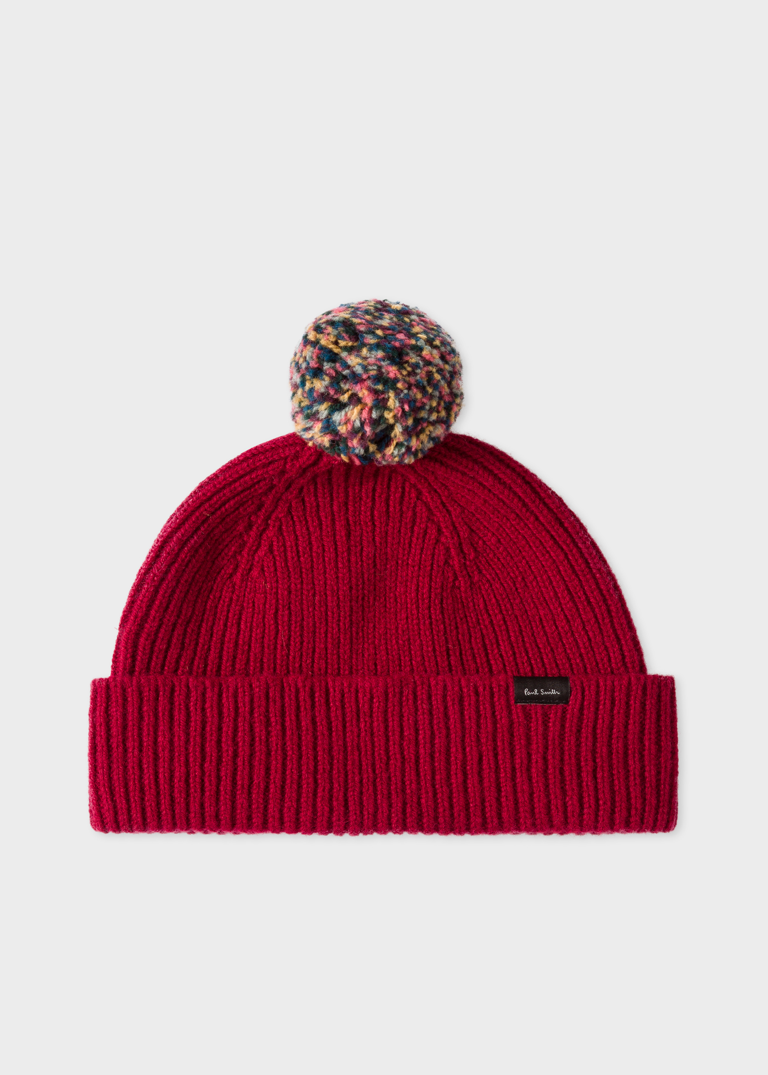 1ea62f566d3 Front View - Men s Red Pom-Pom Wool Beanie Hat Paul Smith