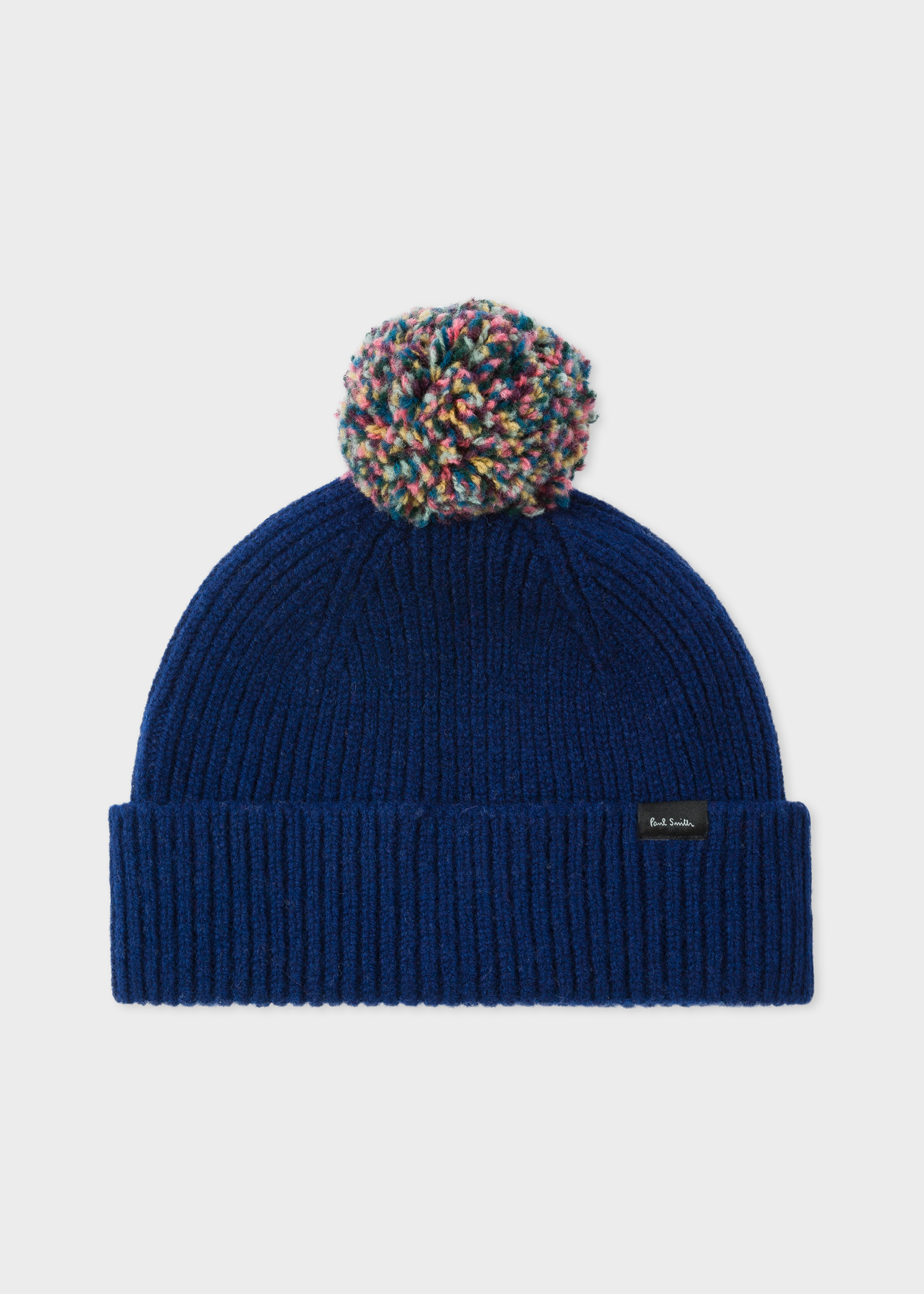 3aab90d6fff Front View - Men s Navy Pom-Pom Wool Beanie Hat Paul Smith